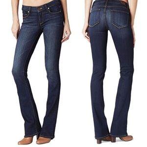 Paige Manhattan Mid Rise Dark Wash Bootcut Jeans